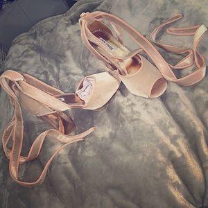 Cape Robbin light pink tie up heels